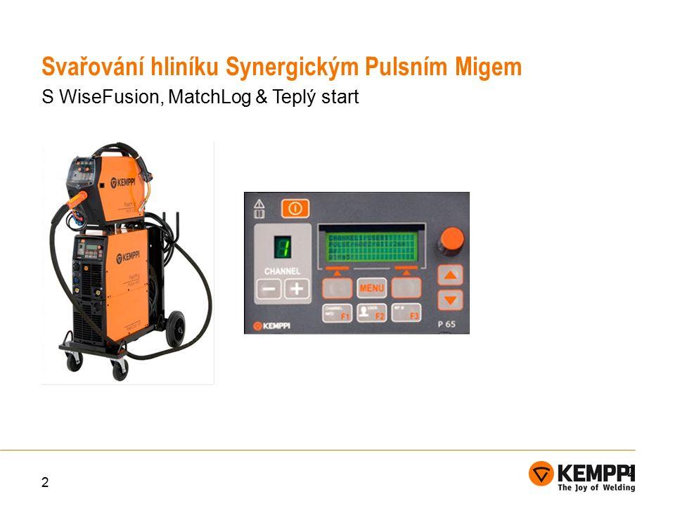 3 WiseFusion je volitelná funkce oblouku značky KEMPPI, která automaticky řídí délku oblouku a energie oblouku je prostřednictvím kontroly proudu a napětí udržována na optimální úrovni tím, že nastavuje a vypočítává počet zkratů, které mají nastat.