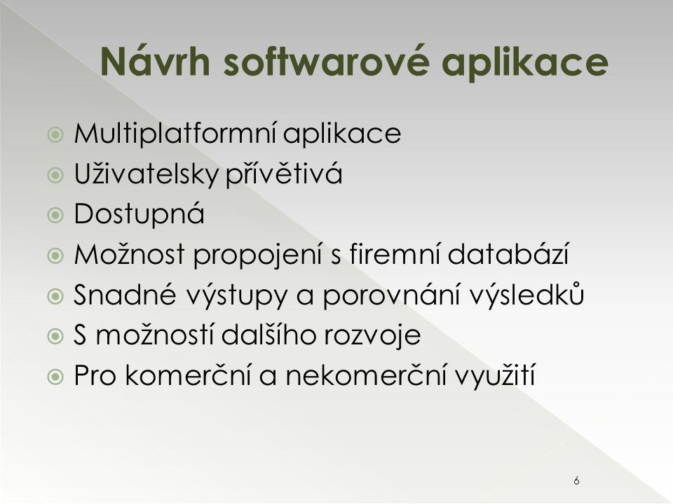  Multiplatformní aplikace  Uživatelsky přívětivá  Dostupná  Možnost propojení s firemní databází  Snadné výstupy a porovnání výsledků  S možností dalšího rozvoje  Pro komerční a nekomerční využití Návrh softwarové aplikace 6