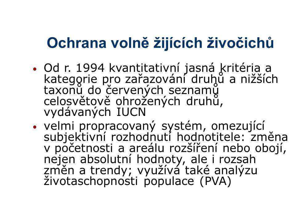 Ochrana volně žijících živočichů Od r.
