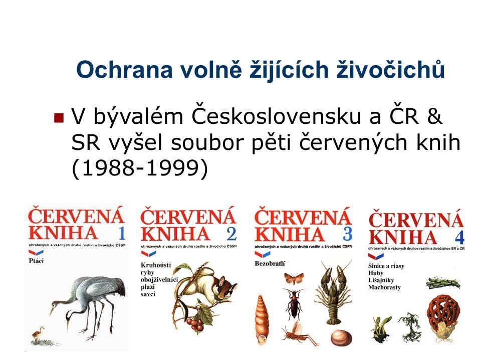 Ochrana volně žijících živočichů V bývalém Československu a ČR & SR vyšel soubor pěti červených knih (1988-1999)