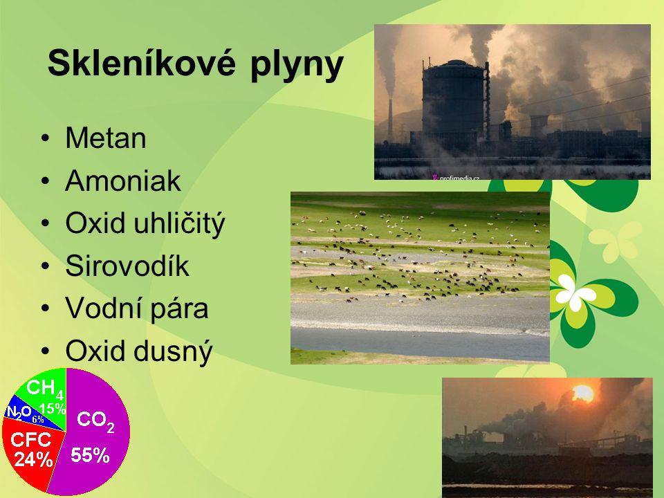 Skleníkové plyny Metan Amoniak Oxid uhličitý Sirovodík Vodní pára Oxid dusný