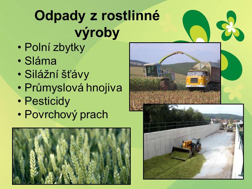 Odpady z rostlinné výroby Polní zbytky Sláma Silážní šťávy Průmyslová hnojiva Pesticidy Povrchový prach