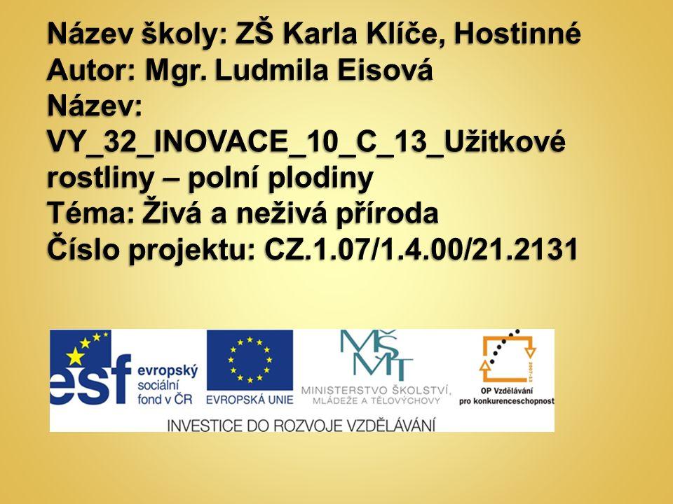 AutorMgr.Ludmila Eisová Vytvořeno dne20. března 2012 Odpilotováno dne26.