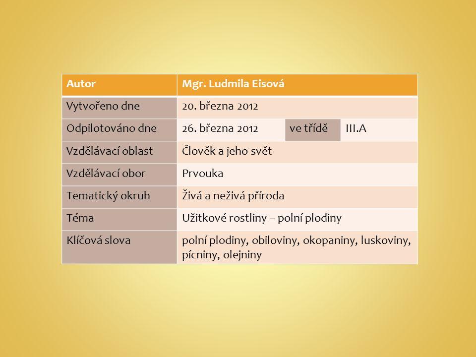 AutorMgr. Ludmila Eisová Vytvořeno dne20. března 2012 Odpilotováno dne26.