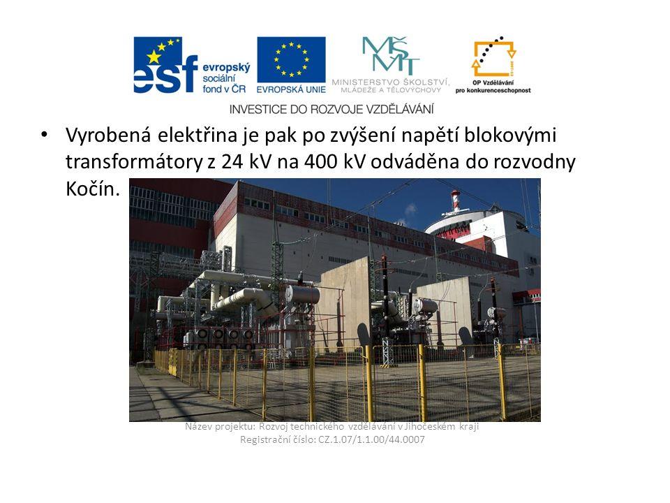Název projektu: Rozvoj technického vzdělávání v Jihočeském kraji Registrační číslo: CZ.1.07/1.1.00/44.0007 Vyrobená elektřina je pak po zvýšení napětí blokovými transformátory z 24 kV na 400 kV odváděna do rozvodny Kočín.