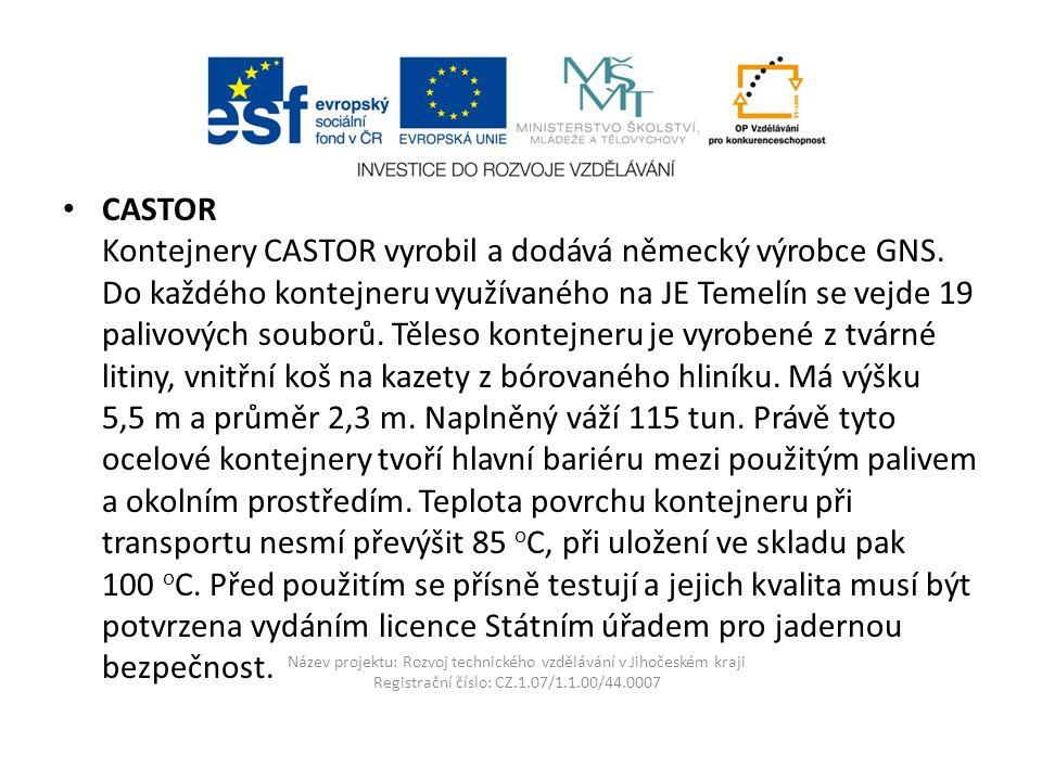 Název projektu: Rozvoj technického vzdělávání v Jihočeském kraji Registrační číslo: CZ.1.07/1.1.00/44.0007 CASTOR Kontejnery CASTOR vyrobil a dodává německý výrobce GNS.