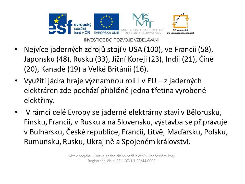 Název projektu: Rozvoj technického vzdělávání v Jihočeském kraji Registrační číslo: CZ.1.07/1.1.00/44.0007 Jaderná energetika v České republice V České republice jsou v provozu dvě jaderné elektrárny Jaderná elektrárna Temelín Jaderná elektrárna Dukovany Z doby bývalého Československa provozuje Slovensko jadernou elektrárnu Jaslovské Bohunice