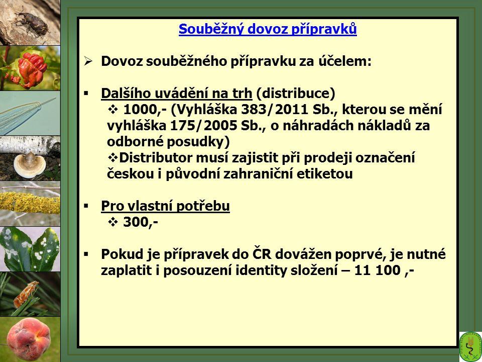  Dovoz souběžného přípravku za účelem:  Dalšího uvádění na trh (distribuce)  1000,- (Vyhláška 383/2011 Sb., kterou se mění vyhláška 175/2005 Sb., o náhradách nákladů za odborné posudky)  Distributor musí zajistit při prodeji označení českou i původní zahraniční etiketou  Pro vlastní potřebu  300,-  Pokud je přípravek do ČR dovážen poprvé, je nutné zaplatit i posouzení identity složení – 11 100,-
