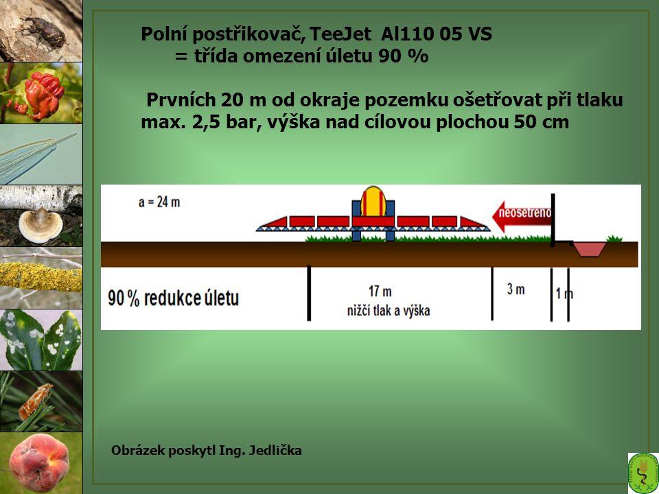 Polní postřikovač, TeeJet Al110 05 VS = třída omezení úletu 90 % Prvních 20 m od okraje pozemku ošetřovat při tlaku max. 2,5 bar, výška nad cílovou pl