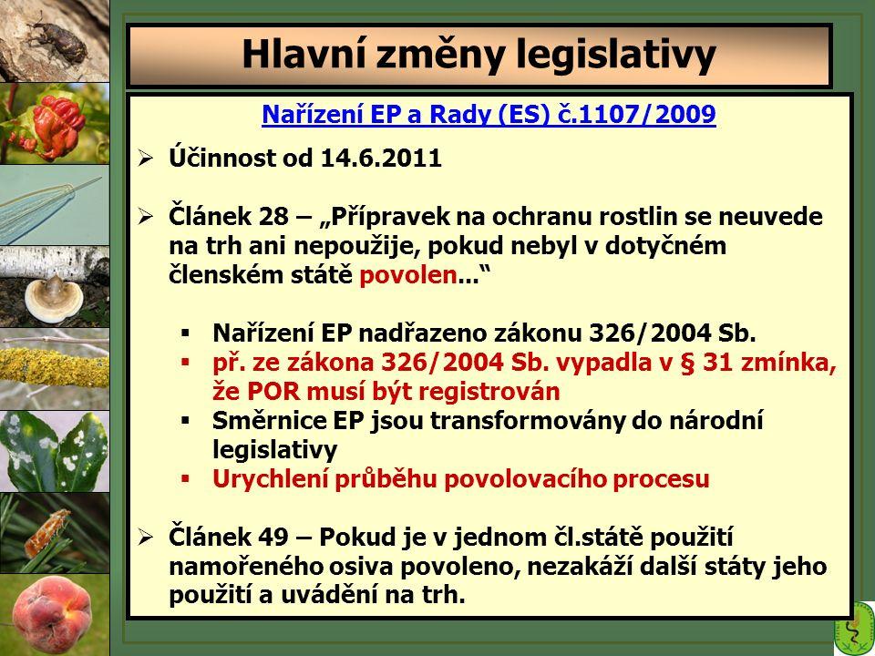 """Nařízení EP a Rady (ES) č.1107/2009  Účinnost od 14.6.2011  Článek 28 – """"Přípravek na ochranu rostlin se neuvede na trh ani nepoužije, pokud nebyl v dotyčném členském státě povolen...  Nařízení EP nadřazeno zákonu 326/2004 Sb."""
