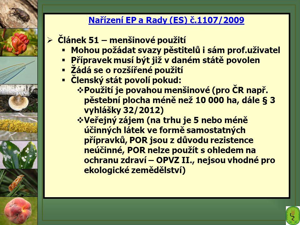 Nařízení EP a Rady (ES) č.1107/2009  Článek 51 – menšinové použití  Mohou požádat svazy pěstitelů i sám prof.uživatel  Přípravek musí být již v daném státě povolen  Žádá se o rozšířené použití  Členský stát povolí pokud:  Použití je povahou menšinové (pro ČR např.