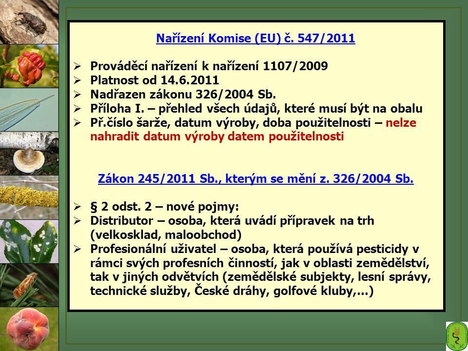 Nařízení Komise (EU) č. 547/2011  Prováděcí nařízení k nařízení 1107/2009  Platnost od 14.6.2011  Nadřazen zákonu 326/2004 Sb.  Příloha I. – přehl