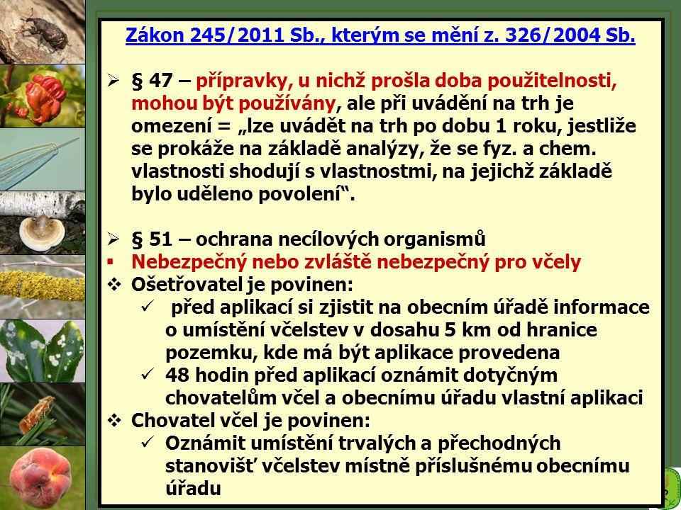 Zákon 245/2011 Sb., kterým se mění z. 326/2004 Sb.  § 47 – přípravky, u nichž prošla doba použitelnosti, mohou být používány, ale při uvádění na trh