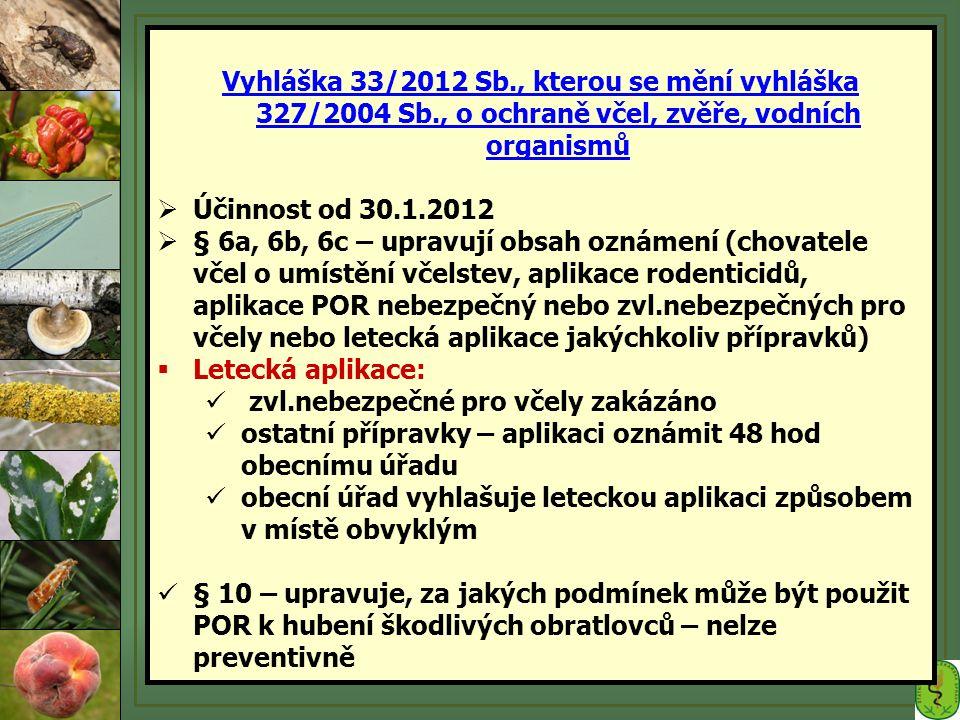 Vyhláška 33/2012 Sb., kterou se mění vyhláška 327/2004 Sb., o ochraně včel, zvěře, vodních organismů  Účinnost od 30.1.2012  § 6a, 6b, 6c – upravují