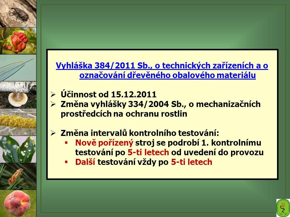 Vyhláška 384/2011 Sb., o technických zařízeních a o označování dřevěného obalového materiálu  Účinnost od 15.12.2011  Změna vyhlášky 334/2004 Sb., o mechanizačních prostředcích na ochranu rostlin  Změna intervalů kontrolního testování:  Nově pořízený stroj se podrobí 1.