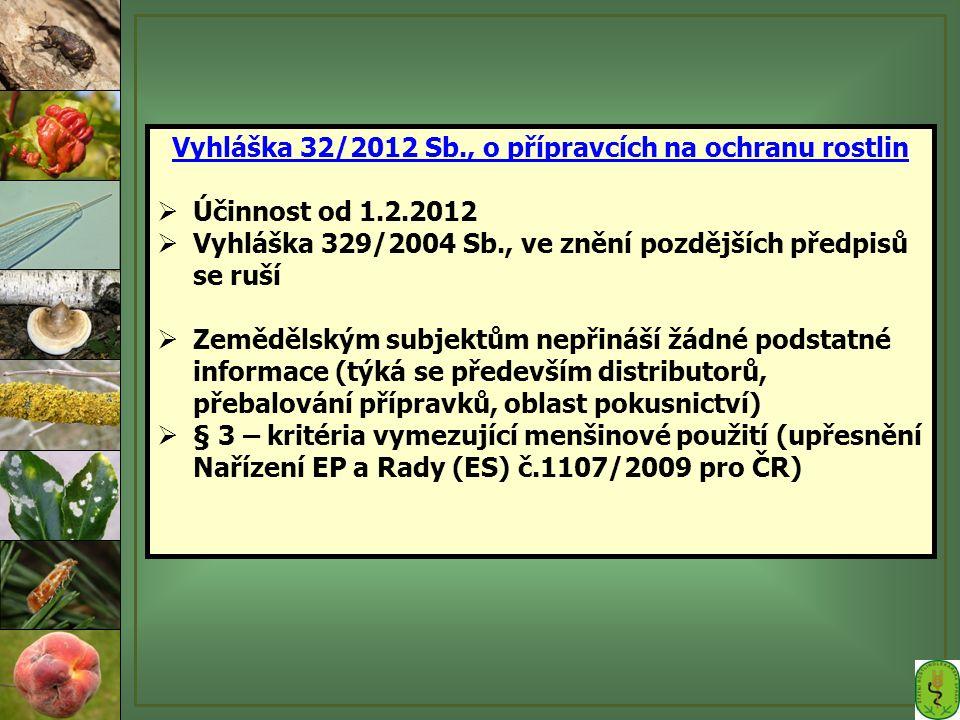 Vyhláška 32/2012 Sb., o přípravcích na ochranu rostlin  Účinnost od 1.2.2012  Vyhláška 329/2004 Sb., ve znění pozdějších předpisů se ruší  Zeměděls