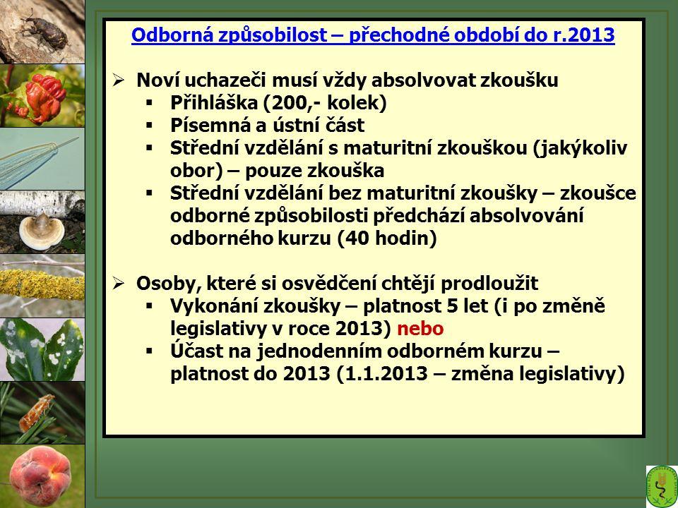 Odborná způsobilost – přechodné období do r.2013  Noví uchazeči musí vždy absolvovat zkoušku  Přihláška (200,- kolek)  Písemná a ústní část  Střed