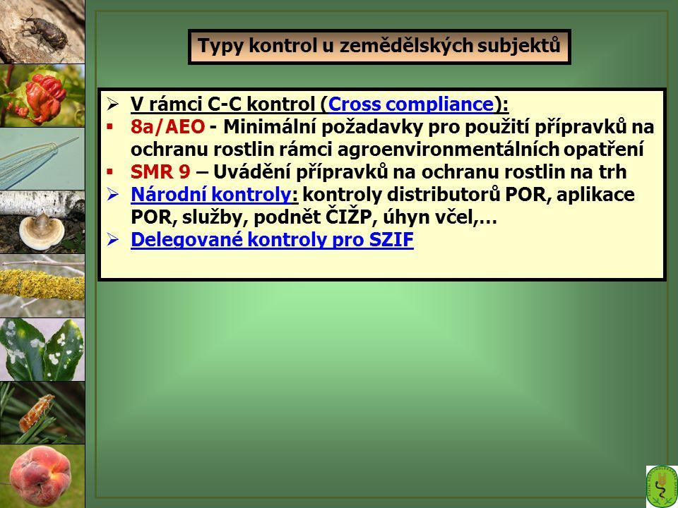 Typy kontrol u zemědělských subjektů  V rámci C-C kontrol (Cross compliance):  8a/AEO - Minimální požadavky pro použití přípravků na ochranu rostlin