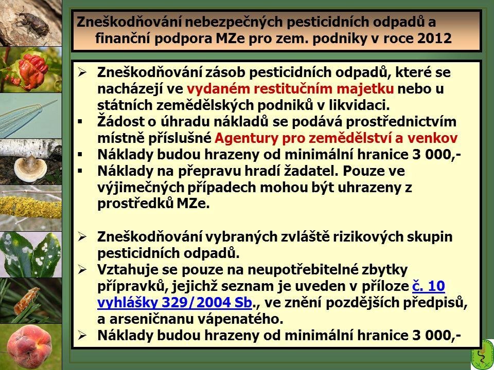 Vyhláška 33/2012 Sb., kterou se mění vyhláška 327/2004 Sb., o ochraně včel, zvěře, vodních organismů  Účinnost od 30.1.2012  § 6a, 6b, 6c – upravují obsah oznámení (chovatele včel o umístění včelstev, aplikace rodenticidů, aplikace POR nebezpečný nebo zvl.nebezpečných pro včely nebo letecká aplikace jakýchkoliv přípravků)  Letecká aplikace: zvl.nebezpečné pro včely zakázáno ostatní přípravky – aplikaci oznámit 48 hod obecnímu úřadu obecní úřad vyhlašuje leteckou aplikaci způsobem v místě obvyklým § 10 – upravuje, za jakých podmínek může být použit POR k hubení škodlivých obratlovců – nelze preventivně