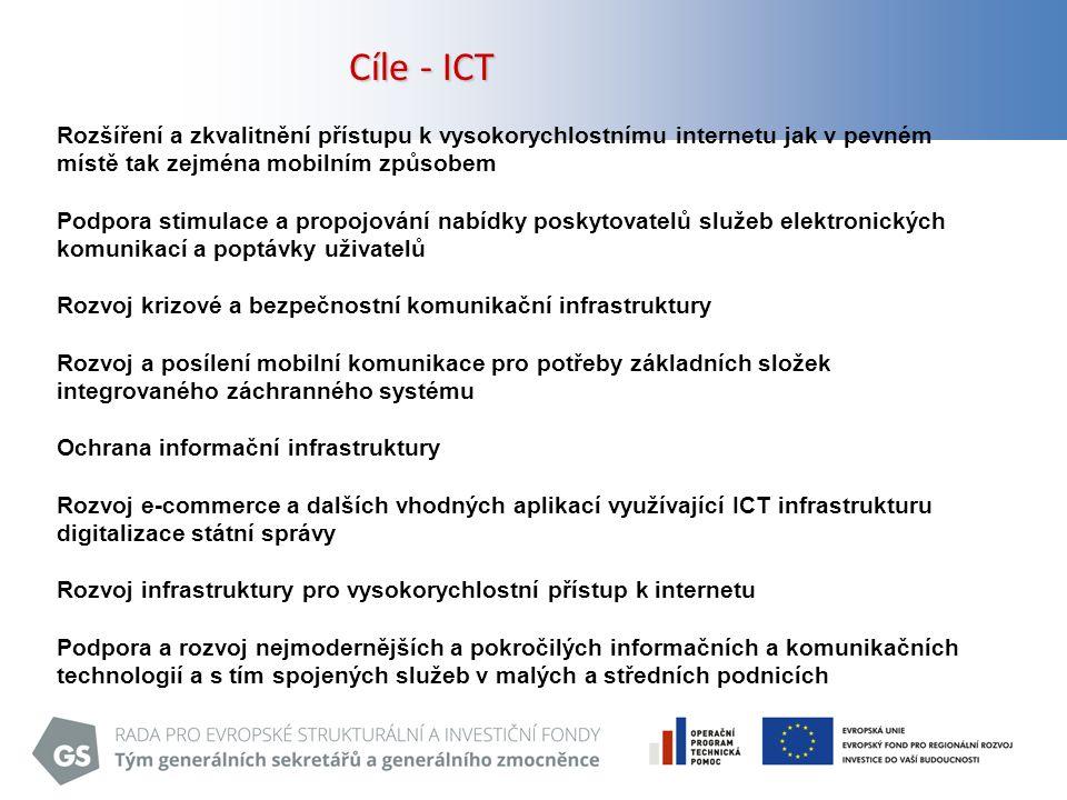 18 Cíle - ICT Rozšíření a zkvalitnění přístupu k vysokorychlostnímu internetu jak v pevném místě tak zejména mobilním způsobem Podpora stimulace a propojování nabídky poskytovatelů služeb elektronických komunikací a poptávky uživatelů Rozvoj krizové a bezpečnostní komunikační infrastruktury Rozvoj a posílení mobilní komunikace pro potřeby základních složek integrovaného záchranného systému Ochrana informační infrastruktury Rozvoj e-commerce a dalších vhodných aplikací využívající ICT infrastrukturu digitalizace státní správy Rozvoj infrastruktury pro vysokorychlostní přístup k internetu Podpora a rozvoj nejmodernějších a pokročilých informačních a komunikačních technologií a s tím spojených služeb v malých a středních podnicích