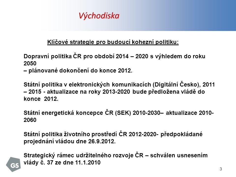 3 Východiska Klíčové strategie pro budoucí kohezní politiku: Dopravní politika ČR pro období 2014 – 2020 s výhledem do roku 2050 – plánované dokončení do konce 2012.