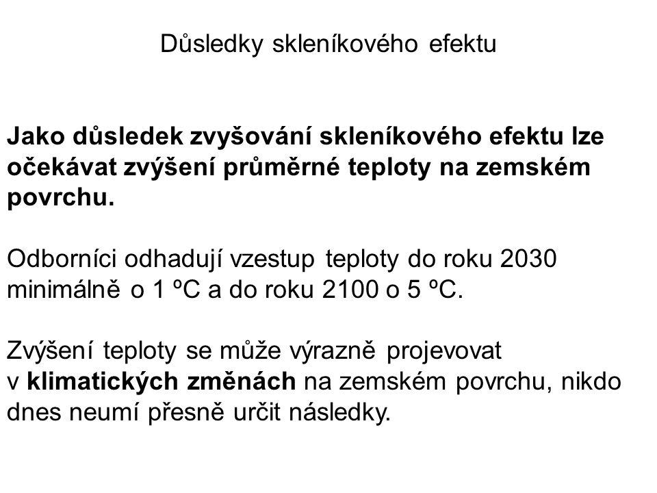 Důsledky skleníkového efektu Jako důsledek zvyšování skleníkového efektu lze očekávat zvýšení průměrné teploty na zemském povrchu.