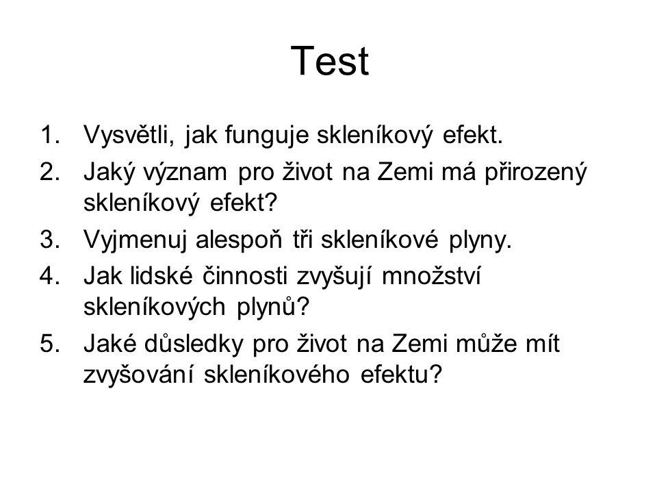 Test 1.Vysvětli, jak funguje skleníkový efekt.
