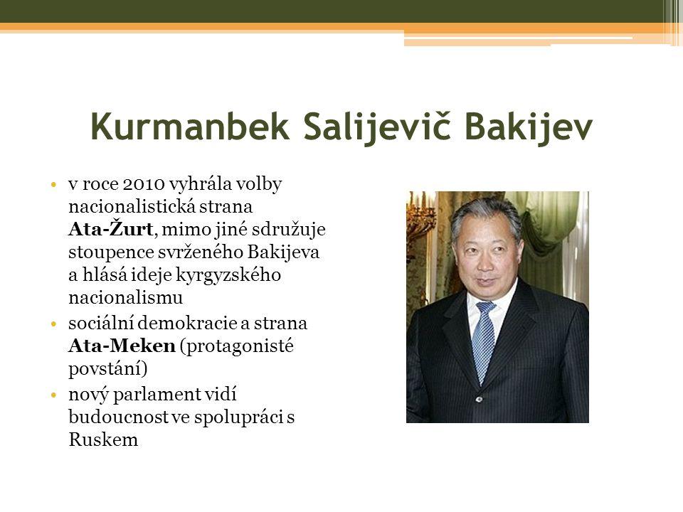 Kurmanbek Salijevič Bakijev v roce 2010 vyhrála volby nacionalistická strana Ata-Žurt, mimo jiné sdružuje stoupence svrženého Bakijeva a hlásá ideje kyrgyzského nacionalismu sociální demokracie a strana Ata-Meken (protagonisté povstání) nový parlament vidí budoucnost ve spolupráci s Ruskem