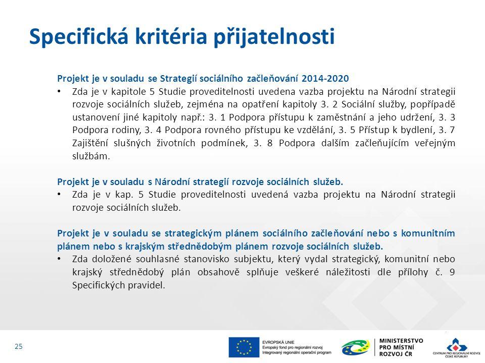 Projekt je v souladu se Strategií sociálního začleňování 2014-2020 Zda je v kapitole 5 Studie proveditelnosti uvedena vazba projektu na Národní strate