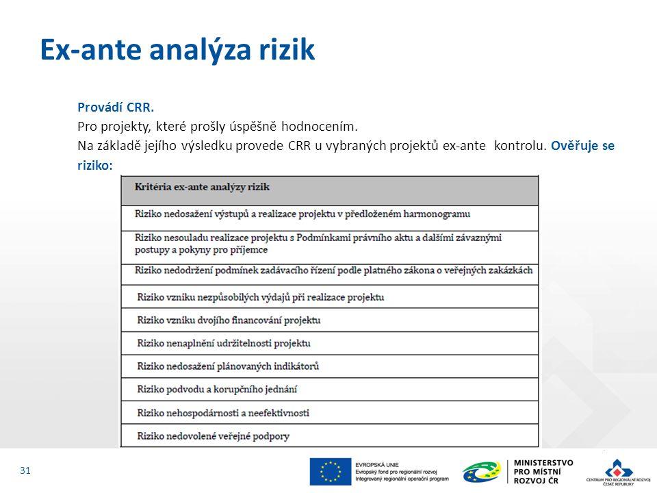 Provádí CRR. Pro projekty, které prošly úspěšně hodnocením. Na základě jejího výsledku provede CRR u vybraných projektů ex-ante kontrolu. Ověřuje se r