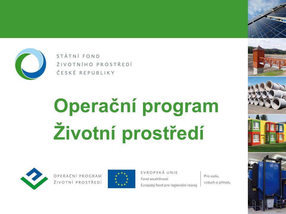 2 OPŽP – druhý největší operační program  Finanční nástroj pro čerpání prostředků z fondů Evropské unie  V letech 2007–2013 pro projekty ochrany a zlepšování kvality životního prostředí určeno z Fondu soudržnosti a ERDF 4,9 miliardy €  Dalších 306 milionů € je připraveno na spolufinancování ze SFŽP ČR a kapitoly MŽP  Ke konci dubna 2013 schváleno k rozdělení 110,6 miliard Kč  Na účty příjemců odesláno 44,5 miliard Kč