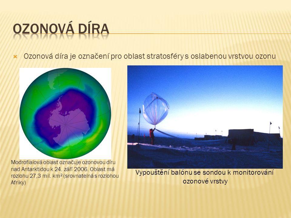  Od roku 1930 jsou vyráběny halogenované uhlovodíky (freony), které jsou použity v chladicích a hnacích médiích, v aerosolech, nadouvadlech, hasicích přístrojích a čisticích prostředcích  V roce 1974 byla poprvé vyslovena hypotéza, že freony, ač mnohdy několikrát těžší než vzduch, pronikají do stratosféry (10 až 50 km nad povrch Země), kde se z nich odštěpuje chlór, který se podílí na katalytickém rozkladu ozonu - snižují tak obsah ozonu ve stratosféře