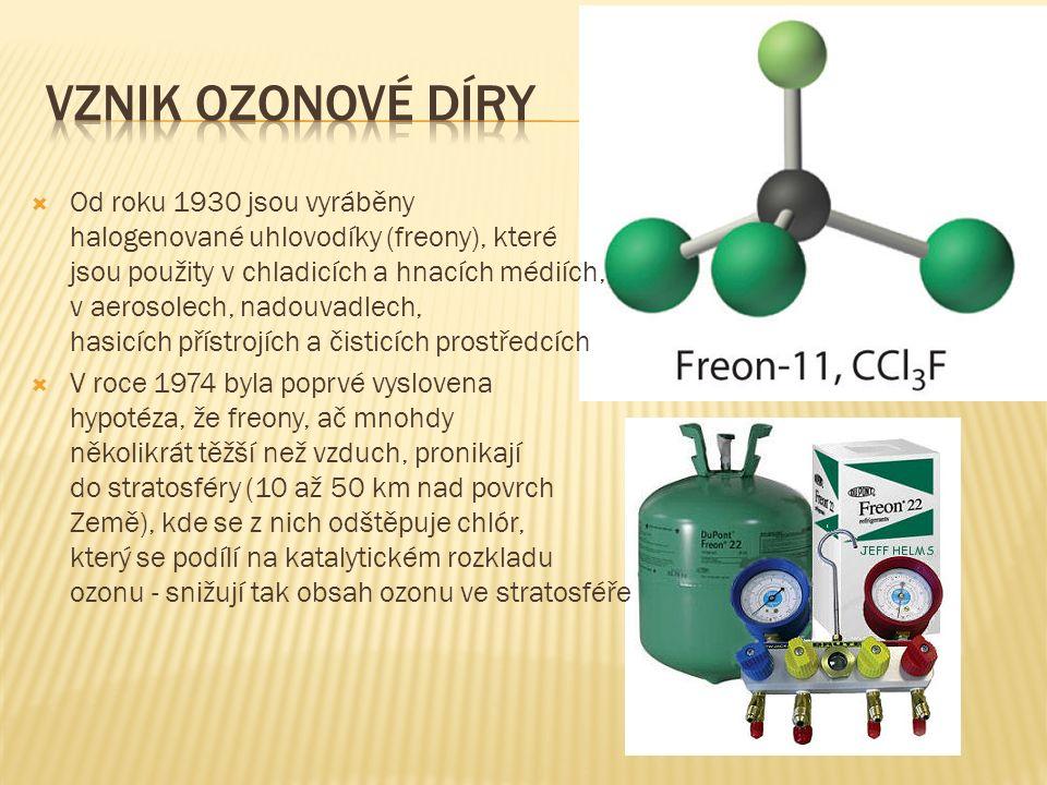  Je prokázáno, že přítomnost organických halogenovaných sloučenin nebo samotných halogenů fluoru, chloru a bromu blokuje reakce vedoucí ke vzniku ozonu, protože halogenové atomy přednostně reagují s atomárním kyslíkem i s molekulami ozonu.