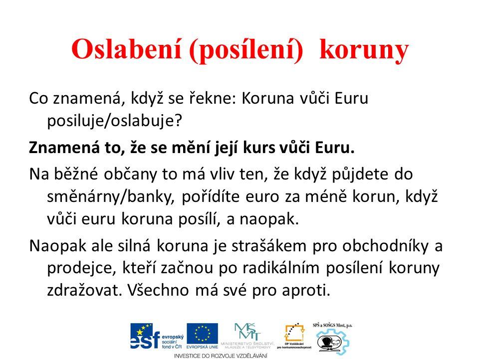 Oslabení (posílení) koruny Co znamená, když se řekne: Koruna vůči Euru posiluje/oslabuje.