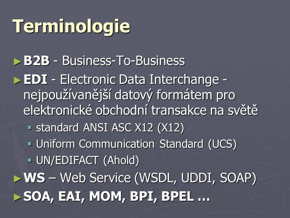 Terminologie ► B2B - Business-To-Business ► EDI - Electronic Data Interchange - nejpoužívanější datový formátem pro elektronické obchodní transakce na světě  standard ANSI ASC X12 (X12)  Uniform Communication Standard (UCS)  UN/EDIFACT (Ahold) ► WS – Web Service (WSDL, UDDI, SOAP) ► SOA, EAI, MOM, BPI, BPEL …