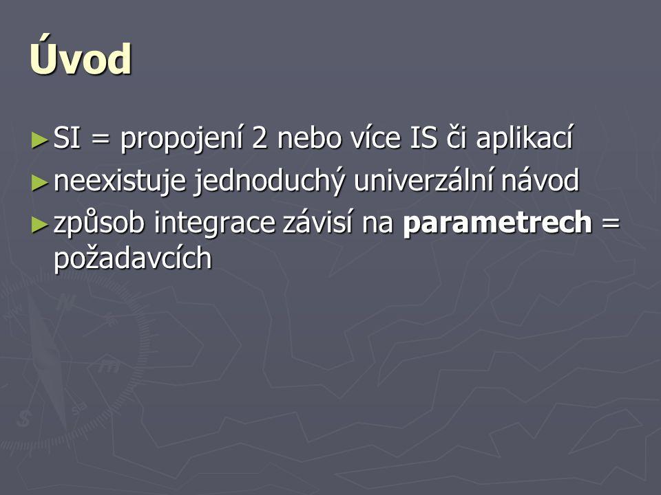 Úvod ► SI = propojení 2 nebo více IS či aplikací ► neexistuje jednoduchý univerzální návod ► způsob integrace závisí na parametrech = požadavcích