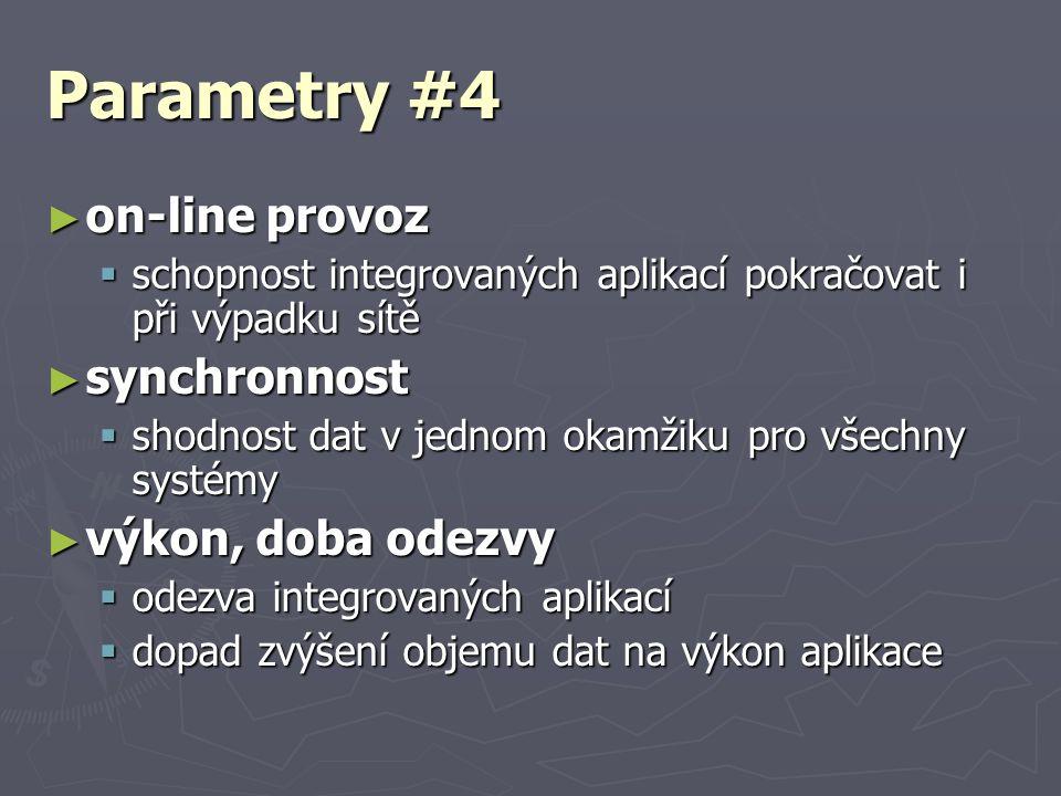 Parametry #4 ► on-line provoz  schopnost integrovaných aplikací pokračovat i při výpadku sítě ► synchronnost  shodnost dat v jednom okamžiku pro vše