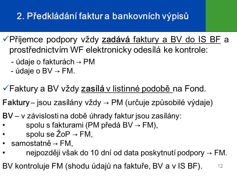 2. Předkládání faktur a bankovních výpisů Příjemce podpory vždy zadává faktury a BV do IS BF a prostřednictvím WF elektronicky odesílá ke kontrole: -