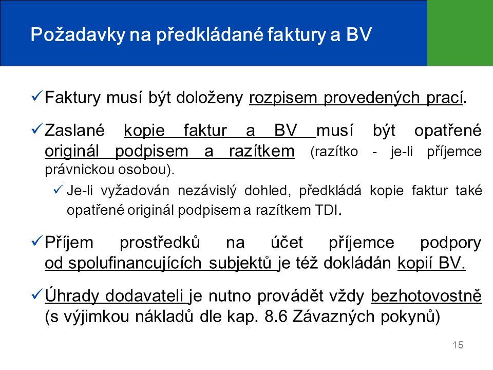 Požadavky na předkládané faktury a BV Faktury musí být doloženy rozpisem provedených prací. Zaslané kopie faktur a BV musí být opatřené originál podpi