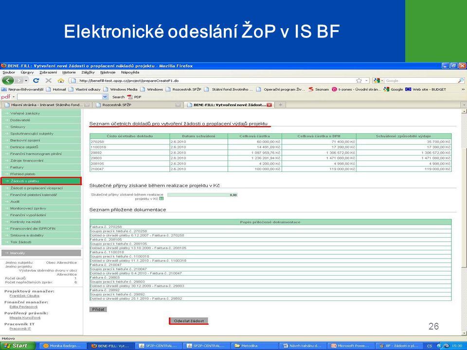 Elektronické odeslání ŽoP v IS BF 26