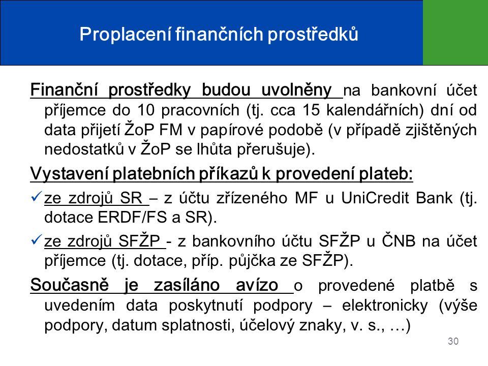 Proplacení finančních prostředků Finanční prostředky budou uvolněny na bankovní účet příjemce do 10 pracovních (tj. cca 15 kalendářních) dní od data p