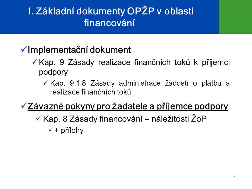 I. Základní dokumenty OPŽP v oblasti financování Implementační dokument Kap. 9 Zásady realizace finančních toků k příjemci podpory Kap. 9.1.8 Zásady a