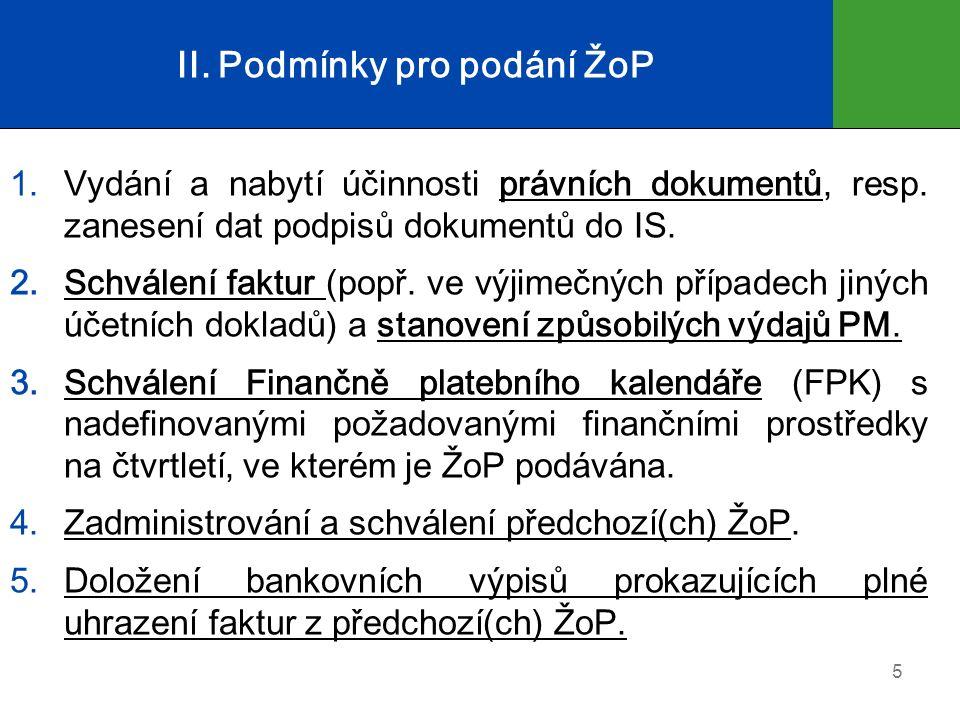 II.Podmínky pro podání ŽoP 1.Vydání a nabytí účinnosti právních dokumentů, resp.