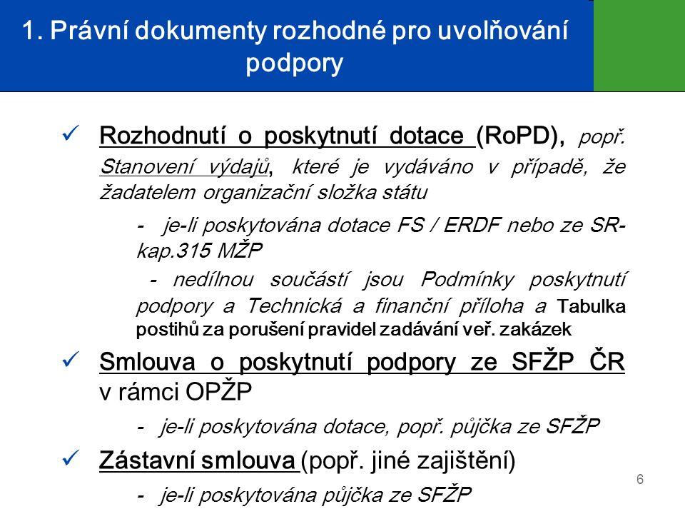 1. Právní dokumenty rozhodné pro uvolňování podpory Rozhodnutí o poskytnutí dotace (RoPD), popř. Stanovení výdajů, které je vydáváno v případě, že žad