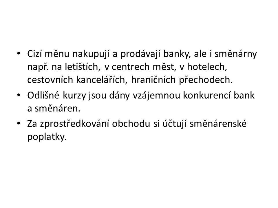 Cizí měnu nakupují a prodávají banky, ale i směnárny např. na letištích, v centrech měst, v hotelech, cestovních kancelářích, hraničních přechodech. O