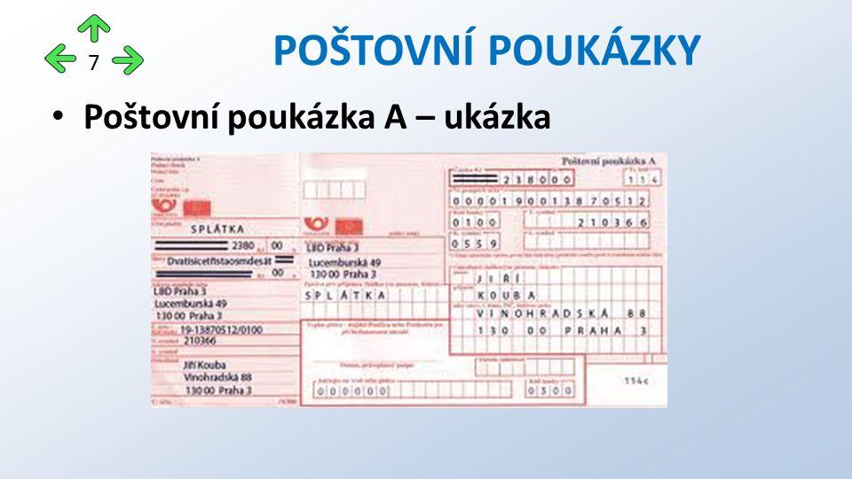 Poštovní poukázka A – ukázka POŠTOVNÍ POUKÁZKY 7
