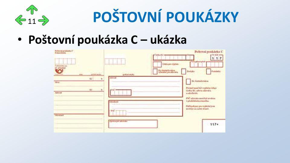 Poštovní poukázka C – ukázka POŠTOVNÍ POUKÁZKY 11