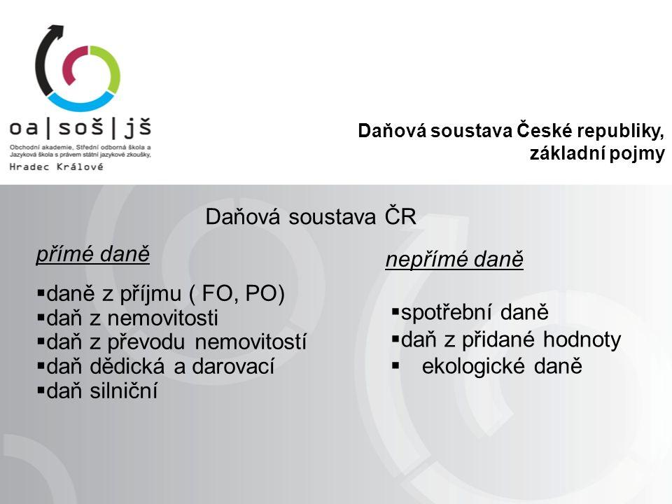 Daňová soustava České republiky, základní pojmy Daňová soustava ČR přímé daně nepřímé daně  daně z příjmu ( FO, PO)  daň z nemovitosti  daň z převodu nemovitostí  daň dědická a darovací  daň silniční  spotřební daně  daň z přidané hodnoty  ekologické daně