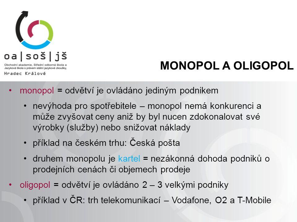 MONOPOL A OLIGOPOL monopol = odvětví je ovládáno jediným podnikem nevýhoda pro spotřebitele – monopol nemá konkurenci a může zvyšovat ceny aniž by byl nucen zdokonalovat své výrobky (služby) nebo snižovat náklady příklad na českém trhu: Česká pošta druhem monopolu je kartel = nezákonná dohoda podniků o prodejních cenách či objemech prodeje oligopol = odvětví je ovládáno 2 – 3 velkými podniky příklad v ČR: trh telekomunikací – Vodafone, O2 a T-Mobile