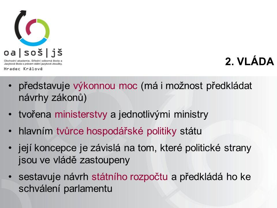 2. VLÁDA představuje výkonnou moc (má i možnost předkládat návrhy zákonů) tvořena ministerstvy a jednotlivými ministry hlavním tvůrce hospodářské poli